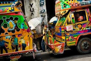 Multi-hued Hatian tap-tap bus